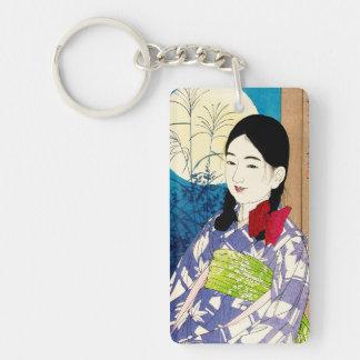 Cool japanese beauty young girl Natori full moon Keychain