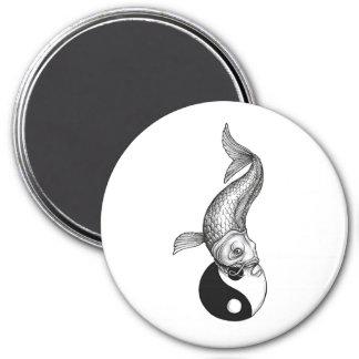 Cool Japanese Black White Koi Fish Yin Yang 3 Inch Round Magnet
