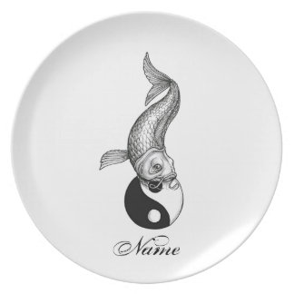 Cool Japanese Black White Koi Fish Yin Yang Melamine Plate