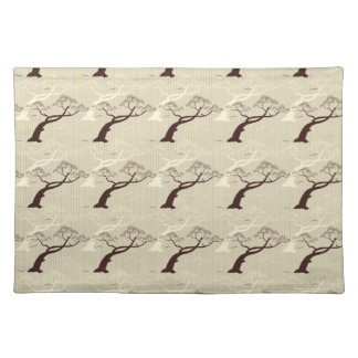 Cool japanese bonsai tree birds stripes pattern cloth placemat