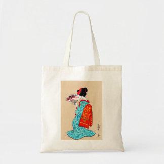 Cool japanese classic geisha lady kimono fan tote bag