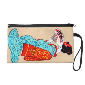 Cool japanese classic geisha lady kimono fan wristlet clutch