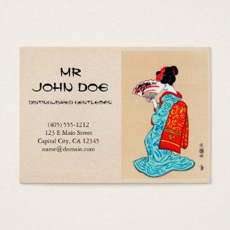 Cool japanese classic geisha lady kimono fan business card