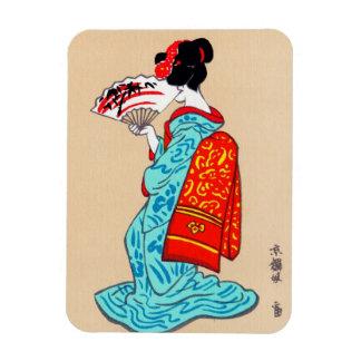 Cool japanese classic geisha lady kimono fan magnet