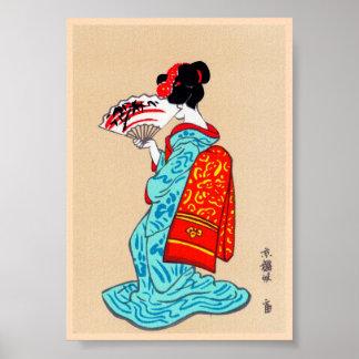 Cool japanese classic geisha lady kimono fan poster