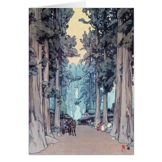 Cool japanese classic Hiroshi Tada forest painting Greeting Card