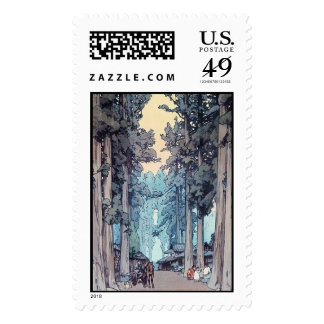 Cool japanese classic Hiroshi Tada forest painting Postage