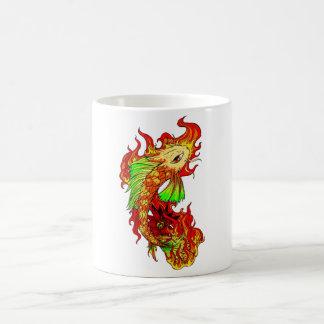 Cool Japanese Cute Koi Carp Fish Flame tattoo Coffee Mug