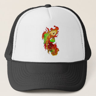 Cool Japanese Cute Koi Carp Fish Flame tattoo Trucker Hat