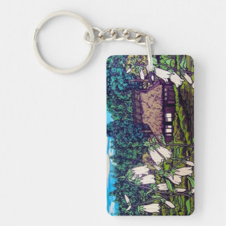 Cool japanese forest summer house flower nature Double-Sided rectangular acrylic keychain