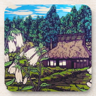 Cool japanese forest summer house flower nature drink coaster