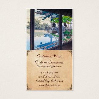 Cool japanese garden lake mountain scenery business card