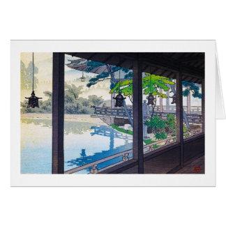 Cool japanese garden lake mountain scenery card