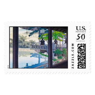 Cool japanese garden lake mountain scenery postage