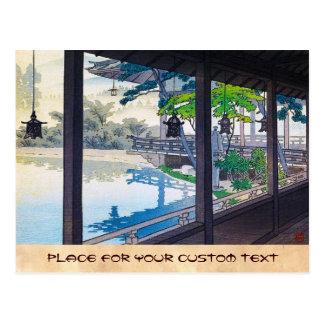 Cool japanese garden lake mountain scenery postcard
