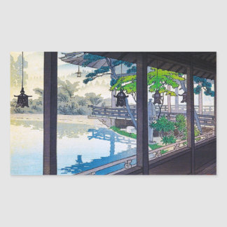 Cool japanese garden lake mountain scenery rectangular sticker