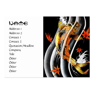 Cool japanese gold lucky koi carp black ink water business card template