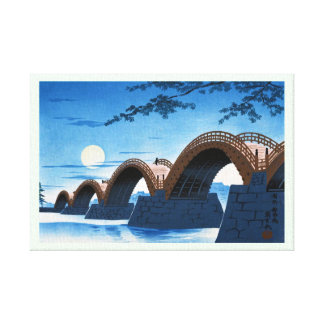 Cool japanese great bridge waterscape night moon gallery wrapped canvas
