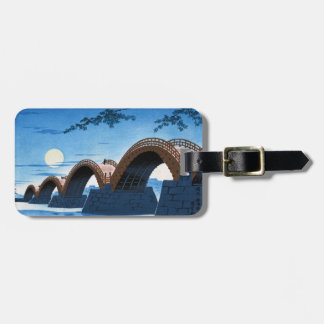 Cool japanese great bridge waterscape night moon luggage tags