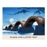 Cool japanese great bridge waterscape night moon postcard