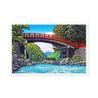 Cool japanese great forest bridge river waterscape canvas print