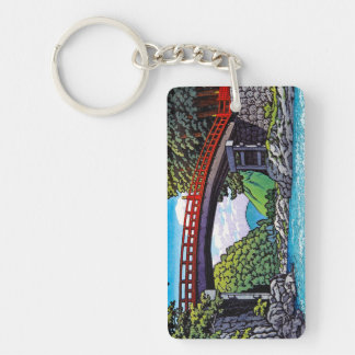 Cool japanese great forest bridge river waterscape keychain
