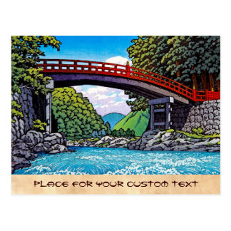 Cool japanese great forest bridge river waterscape postcard