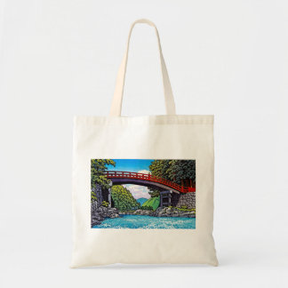 Cool japanese great forest bridge river waterscape tote bag