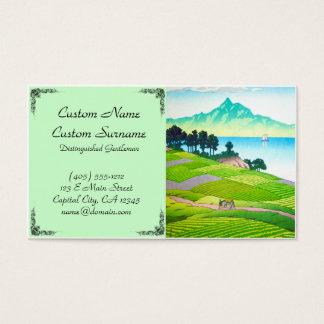 Cool japanese green landscape field mountain sea business card