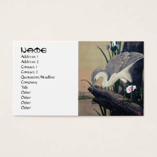 Cool japanese hanga heron bird lake pond art business card