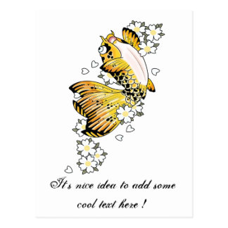 Cool Japanese Happy Gold Koi Fish Carp Postcard