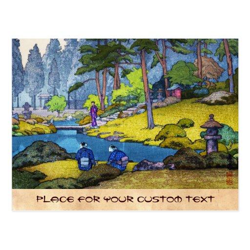 Cool japanese Iinnoji garden forest people river Post Card
