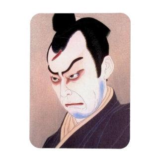 Cool japanese kabuki actor samurai hanga portrait rectangular photo magnet