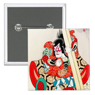 Cool japanese kabuki warrior actor samurai man art pinback button
