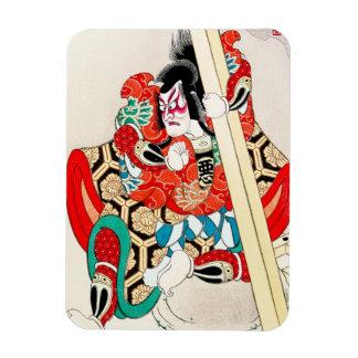 Cool japanese kabuki warrior actor samurai man art rectangular photo magnet