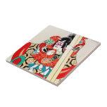 Cool japanese kabuki warrior actor samurai man art ceramic tiles