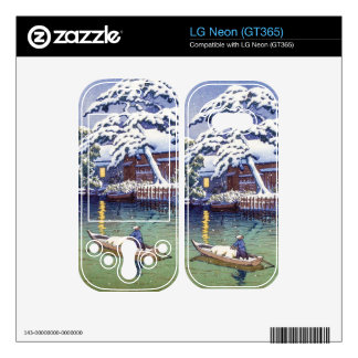 Cool japanese Kawase boat winter snow lake art LG Neon Skin