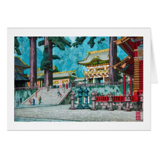 Cool japanese kawase hasui temple forest shrine card