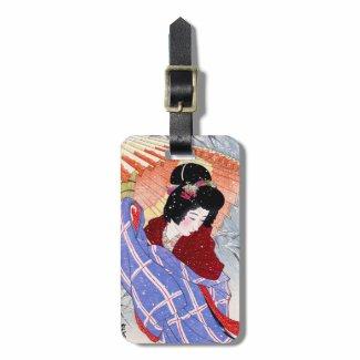 Cool japanese lady geisha umbrella snow winter travel bag tags