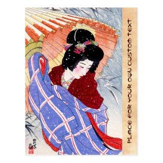 Cool japanese lady geisha umbrella snow winter postcard