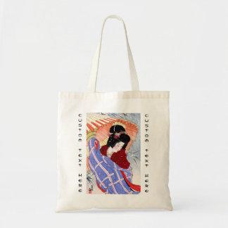 Cool japanese lady geisha umbrella snow winter tote bag