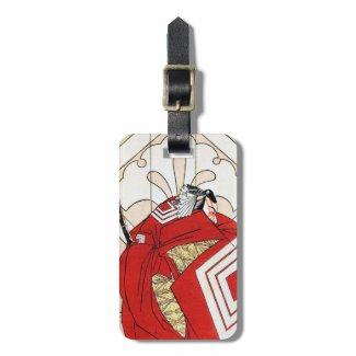 Cool japanese legendary hero samurai warrior art tag for bags