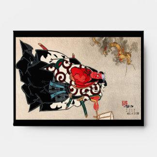 Cool japanese legendary hero warrior samurai art envelope