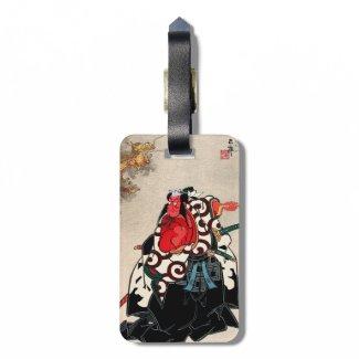 Cool japanese legendary hero warrior samurai art bag tags