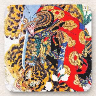 Cool japanese  Legendary Samurai fight tiger art Drink Coaster