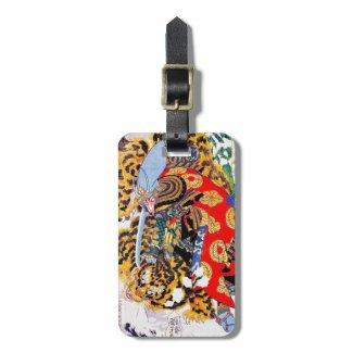 Cool japanese Legendary Samurai fight tiger art Bag Tags