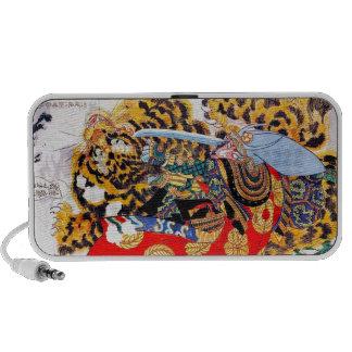 Cool japanese  Legendary Samurai fight tiger art Mp3 Speakers