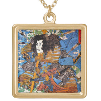 Cool japanese Legendary Samurai Sanin Warrior art Gold Plated Necklace