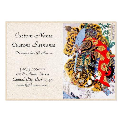 Cool japanese legendary samurai tiger fight art large business card