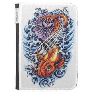Cool Japanese Lucky Koi Carp purple Lotus tattoo Kindle Folio Cases